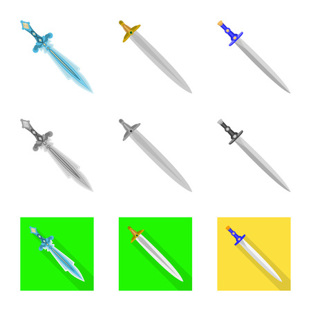 Vector design of game and armor sign. Set of game and blade vector icon for stock.