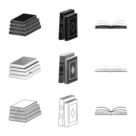 Vector design of training and cover icon. Collection of training and bookstore  stock symbol for web.