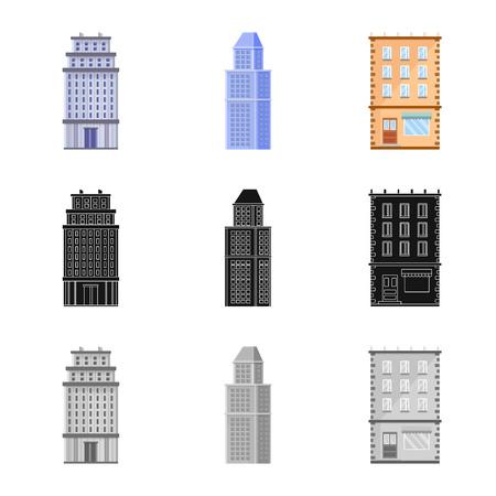 Objeto aislado del símbolo municipal y del centro. Colección de iconos vectoriales municipales y inmobiliarios para stock. Ilustración de vector