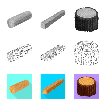 Isolated object of tree   and raw. Set of tree   and construction vector icon for stock.  イラスト・ベクター素材