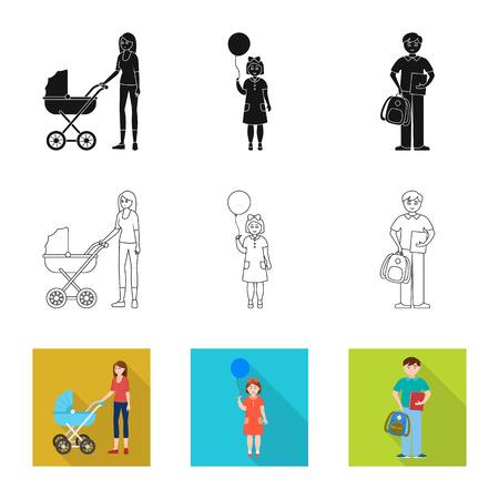 Disegno vettoriale di personaggio e avatar. Set di icone vettoriali di carattere e ritratto per stock.