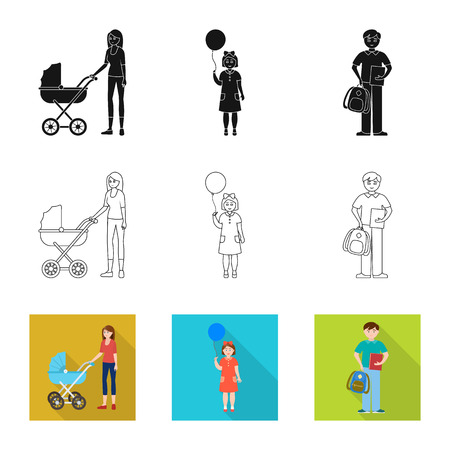 Vector design of character and avatar. Set of character and portrait vector icon for stock.