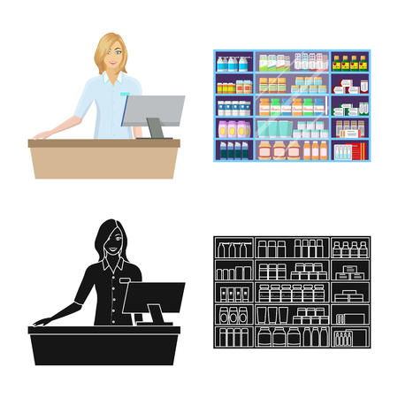 Vector illustration of retail and healthcare icon. Collection of retail and wellness stock vector illustration.