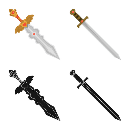 Vector illustration of game  and armor  icon. Collection of game  and blade  stock symbol for web.