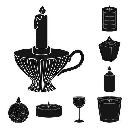 Isolated object of candlelight and decoration. Set of candlelight and wax stock symbol for web.