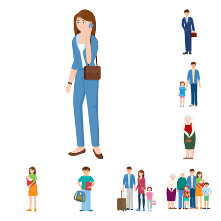 Isolated object of family and people. Set of family and avatar stock symbol for web.