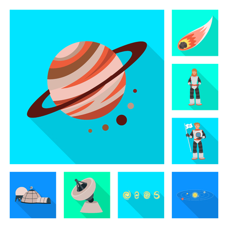 Vector illustration of science and cosmic sign. Set of science and technology stock symbol for web.