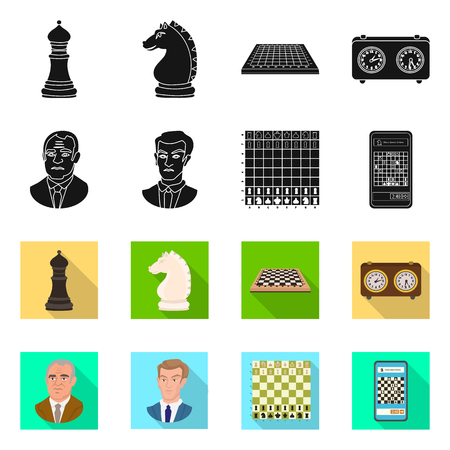Isolated object of checkmate and thin sign. Set of checkmate and target stock vector illustration. Иллюстрация