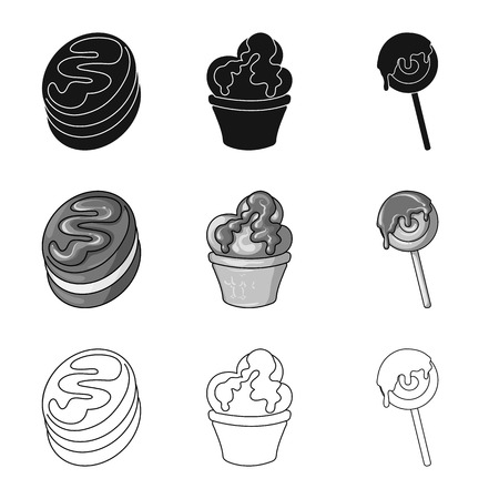 Vector illustration of confectionery and culinary icon. Set of confectionery and product vector icon for stock.