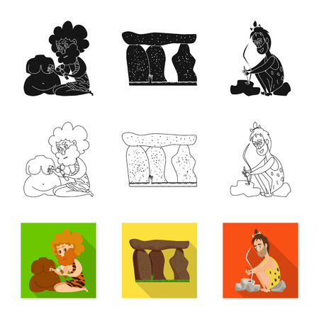 Isolated object of evolution  and prehistory. Collection of evolution  and development  vector icon for stock.