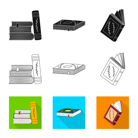 Isolated object of training and cover sign. Collection of training and bookstore  stock symbol for web.