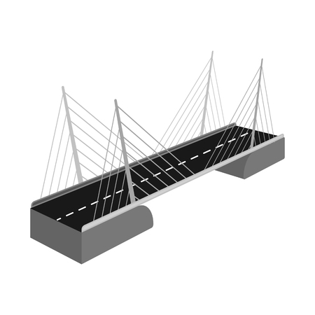 Isolated object of bridge and construction symbol. Collection of bridge and suspended  vector icon for stock. Çizim