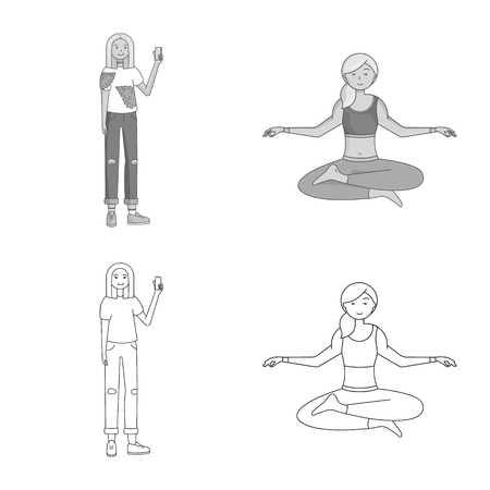 Vector illustration of posture and mood symbol. Collection of posture and female vector icon for stock.