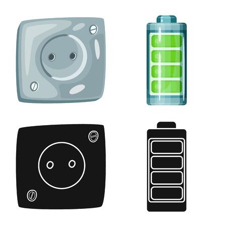 Vector design of innovation and technology sign. Collection of innovation and nature stock symbol for web. Ilustración de vector