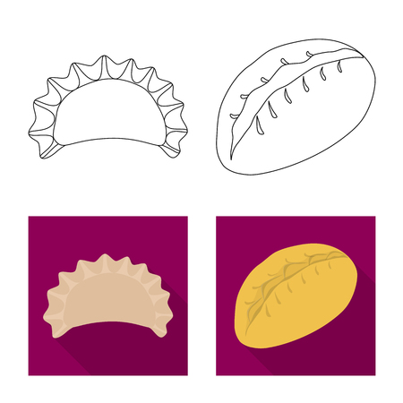 Vector design of products  and cooking. Collection of products  and appetizer vector icon for stock.