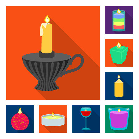 Vector illustration of candlelight and decoration    sign. Collection of candlelight and flame stock symbol for web.