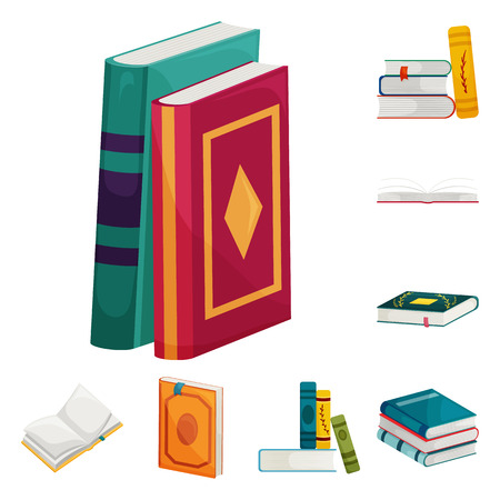 Vector illustration of library and bookstore  sign. Collection of library and literature  stock symbol for web.