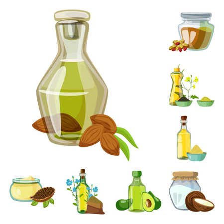 Vector design of bottle and glass. Set of bottle and agriculture stock symbol for web.