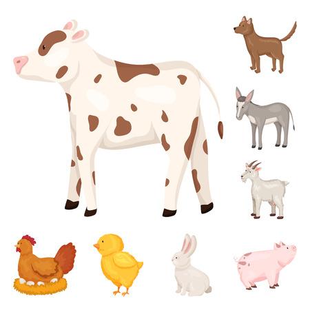 농장 및 식품 상징의 벡터 디자인입니다. 웹에 대 한 농장 및 시골 주식 기호의 컬렉션입니다.
