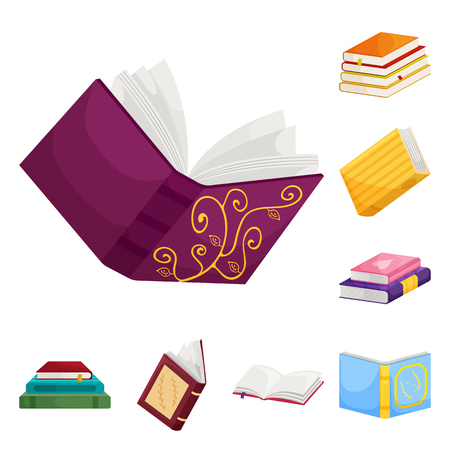 Vector illustration of library and bookstore  sign. Collection of library and literature  stock vector illustration.