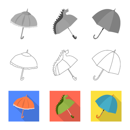 Isolated object of protection and closed logo. Set of protection and rainy vector icon for stock.