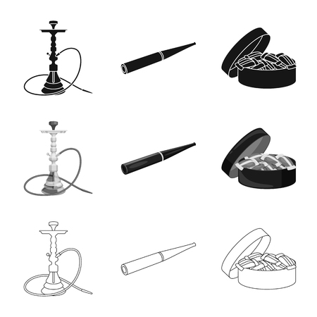 Vector illustration of refuse and stop symbol. Collection of refuse and habit vector icon for stock. Çizim