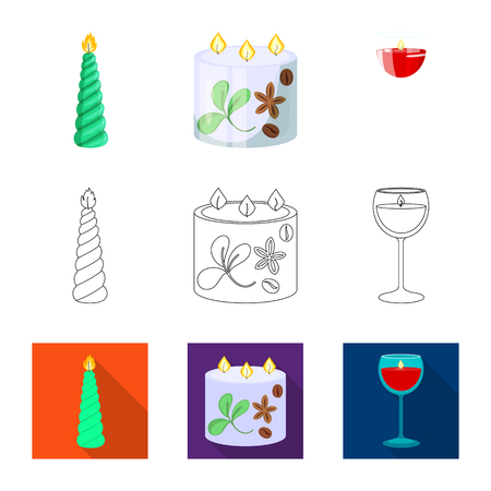 Vector design of relaxation and flame icon. Collection of relaxation and wax vector icon for stock.