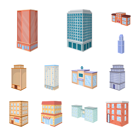 Isolated object of city and build icon. Collection of city and apartment stock symbol for web.