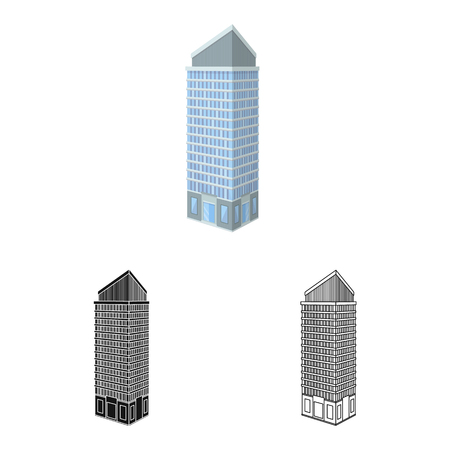 Vector design of skyscraper and office symbol. Set of skyscraper and department stock vector illustration. Stock Illustratie