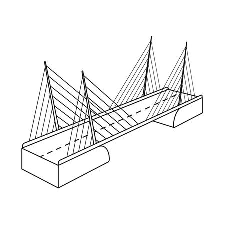 Vector design of bridge and construction sign. Collection of bridge and suspended  vector icon for stock. Çizim