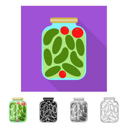 Vector design of bank and cucumbers sign. Set of bank and salty   vector icon for stock. Illustration