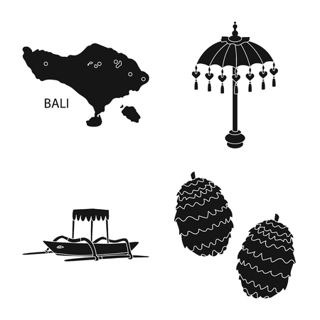 Vector design of  and traditional icon. Collection of  and bali vector icon for stock. Ilustração