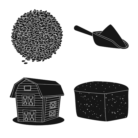 Vector design of rye and plant  logo. Set of rye and corn stock symbol for web. Ilustração