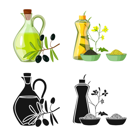 Vector design of healthy  and vegetable  sign. Collection of healthy  and agriculture stock symbol for web. Çizim