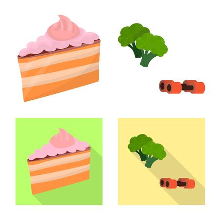 Ilustración de vector de logo de dieta y tratamiento. Conjunto de ilustración de vector stock dieta y medicina. Logos
