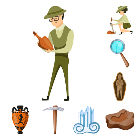 Isolated object of archaeology  and historical icon. Set of archaeology  and excavation stock symbol for web.