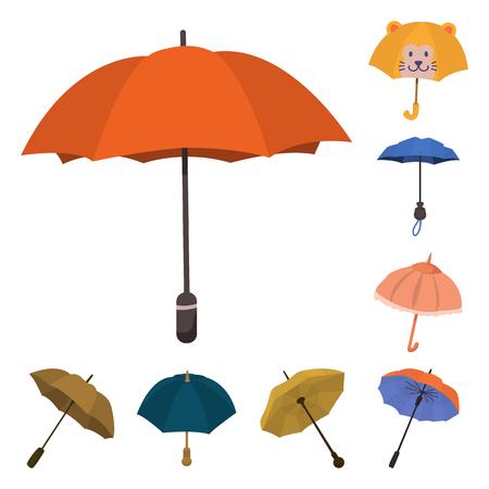 Disegno vettoriale di ombrello e simbolo della pioggia. Collezione di icone vettoriali ombrello e meteo per stock.