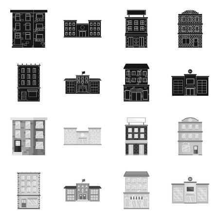 Vector design of municipal and center icon. Set of municipal and estate   stock vector illustration. Illusztráció