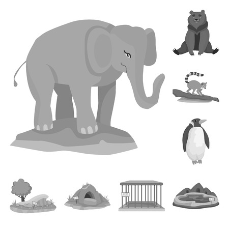Isolated object of zoo  and park sign. Collection of zoo  and animal stock symbol for web. Stock Illustratie