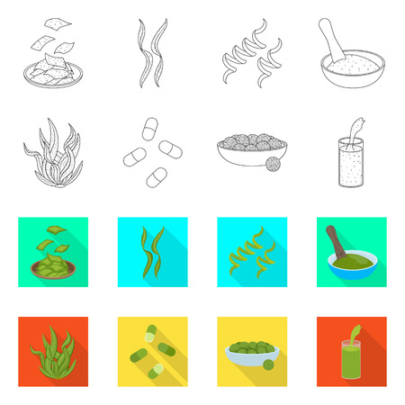 Vector illustration of protein and sea symbol. Collection of protein and natural vector icon for stock.
