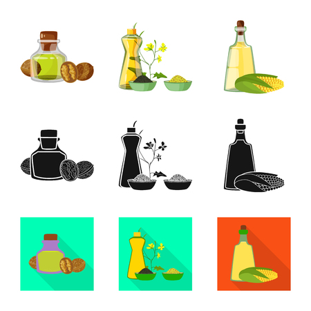 Isolated object of healthy and vegetable icon. Set of healthy and agriculture stock vector illustration.