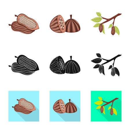 Vector design of food and yummy. Collection of food and brown   vector icon for stock. Standard-Bild - 123443110