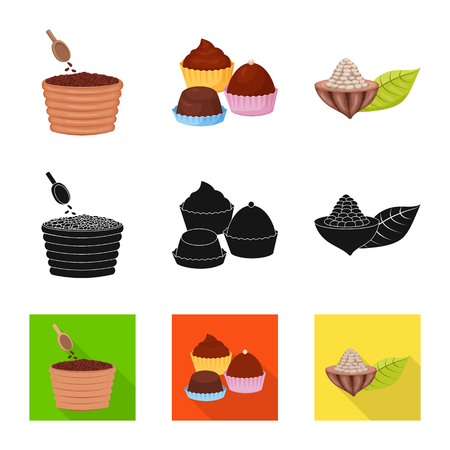 Isolated object of food and yummy sign. Collection of food and brown   stock vector illustration. Vettoriali