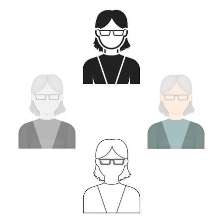 Grandmother icon cartoon,black. Single avatar,peaople icon from the big avatar cartoon,black. Vektoros illusztráció