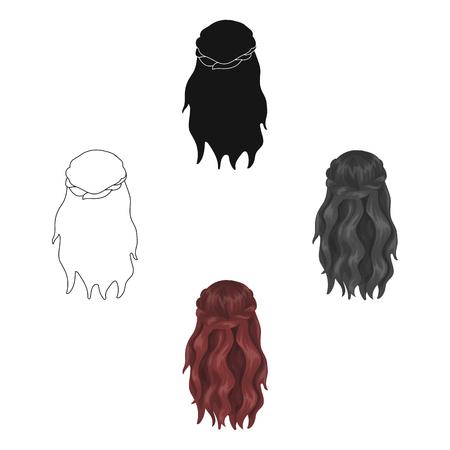 Dark, loose hair behind.Back hairstyle single icon in cartoon,black style vector symbol stock illustration web.