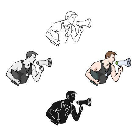 Personal trainer icon in cartoon,black style isolated on white background. Sport and fitness symbol stock vector illustration. Vetores
