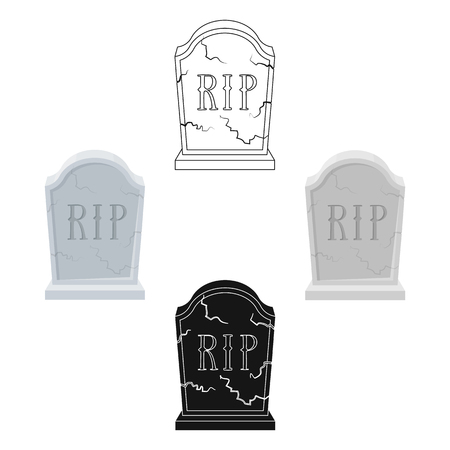Headstone icon in cartoon,black style isolated on white background. Funeral ceremony symbol stock vector illustration. Иллюстрация
