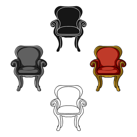 Wing-back chair icon in cartoon,black style isolated on white background. Furniture and home interior symbol stock vector illustration. Foto de archivo - 123470375