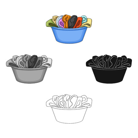 A bowl with dirty laundry. Dry cleanin single icon in cartoon,black style vector symbol stock illustration web. Stock Illustratie