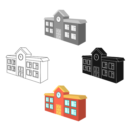 Architectural building of school, college. College single icon in cartoon,black style vector symbol stock illustration web.